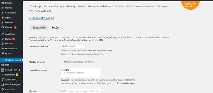 Plugin WhatsApp Submit - captura